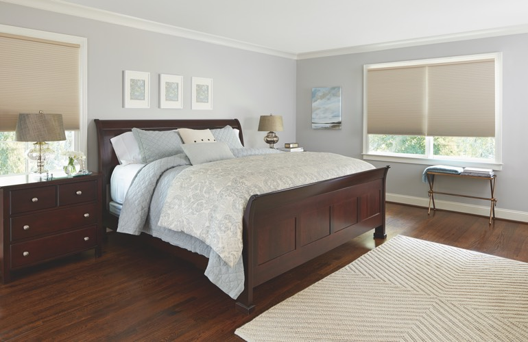 Beige shades in a Honolulu bedroom.