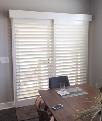 Honolulu white sliding door shutters