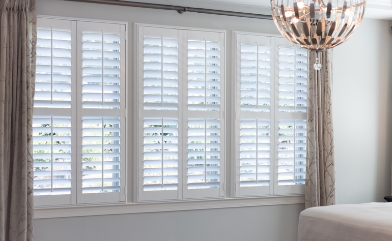 Honolulu plantation shutters master bedroom