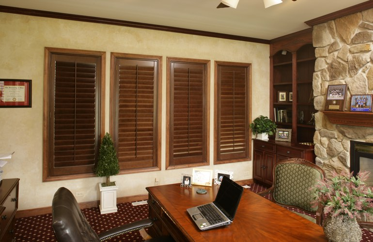 Hardwood plantation shutters in a Honolulu home office