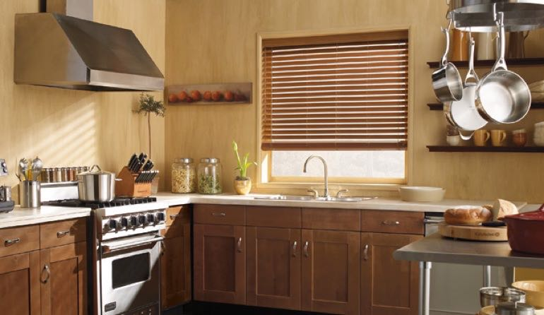 HI faux wood blinds kitchen