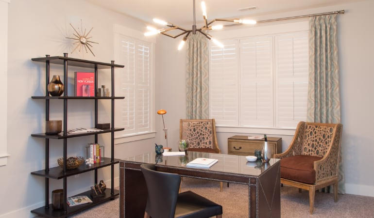 Honolulu home office with plantation shutters.