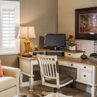 Honolulu home office interior shutters.