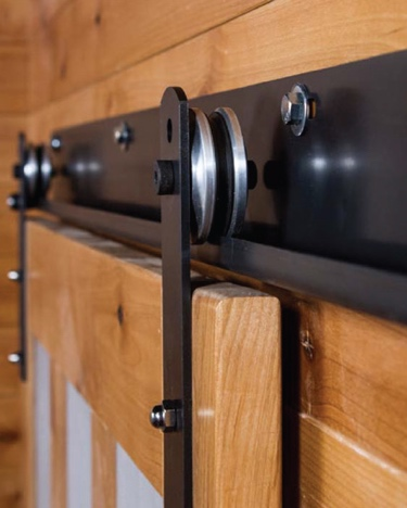 J track for sliding barn doors with metal wheels