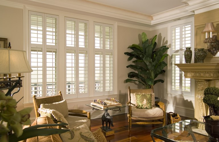 Living Room in Honolulu with interior plantation shutters.