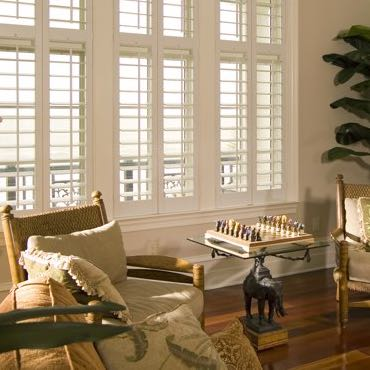 Honolulu living room interior shutters.