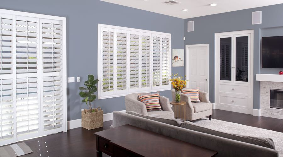 Faux Wood Shutters In pretty Honolulu Living Room