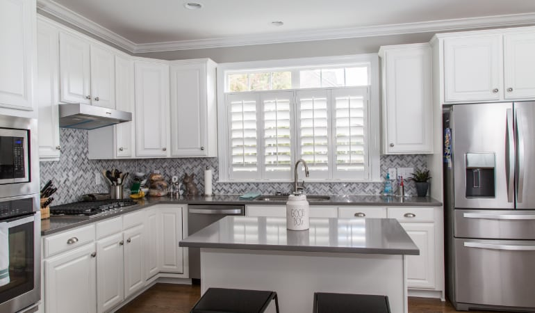 Polywood shutters in a Honolulu gourmet kitchen.
