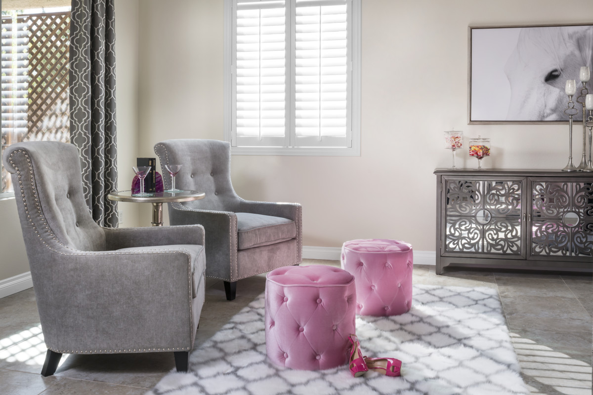 Honolulu pink living room with shutters