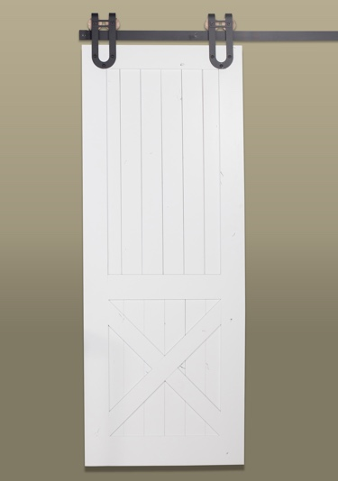 White rustic half X barn door