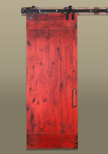 Red True Barn Door In Sunburst Rustic Line