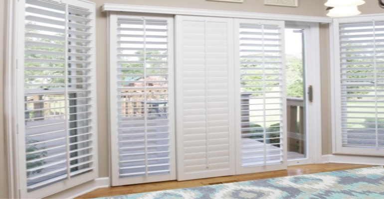 [Polywood|Plantation|Interior ]211] shutters on a sliding glass door in Honolulu