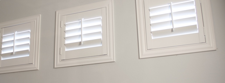 Square Windows in a Honolulu Garage with Polywood Shutters