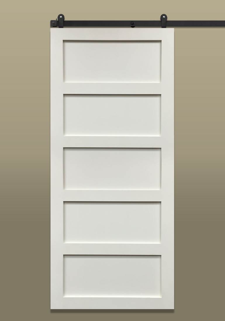 Light colored 5-panel shaker sliding barn door