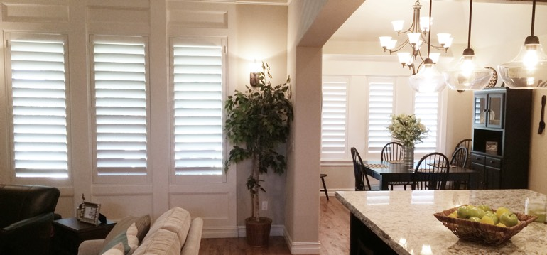 Honolulu shutters in kitchen and great room