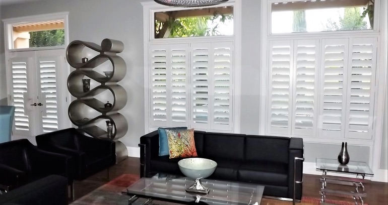 Honolulu DIY shutters in living room.