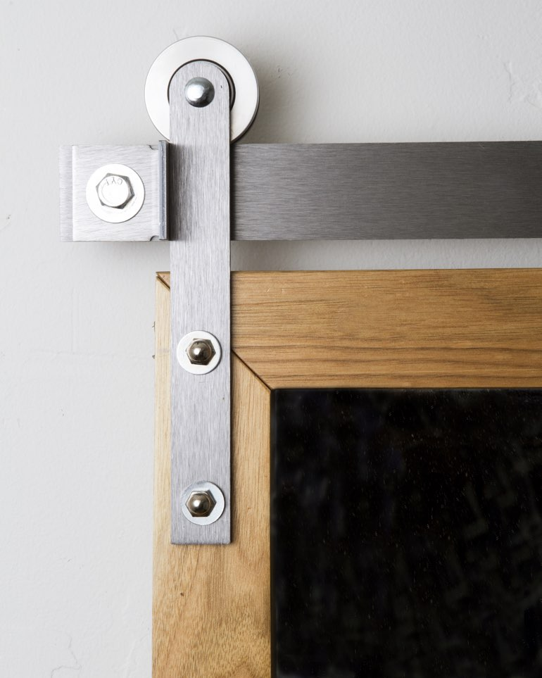 Stainless steel mini modern hanger on sliding barn door