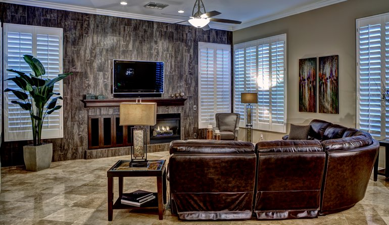 Plantation Shutters In A Honolulu Living Room.